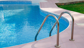 pool rail clear water